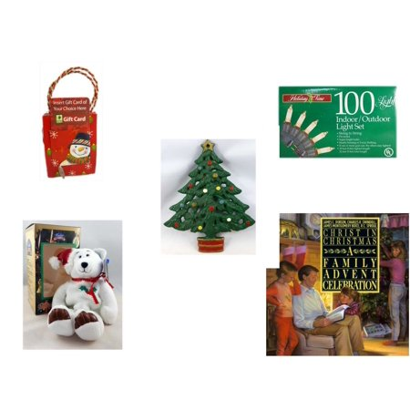 Christmas Fun Gift Bundle [5 Piece] - Musical Gift Card Holder Snowman -  Time 100 Light Indoor/Outdoor Light Set - Wrought Iron  Tree Trivet - Limited Treasures  - Outdoor Limited Coupon