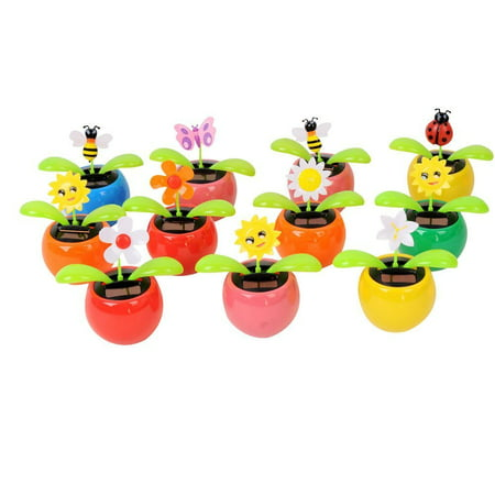 Set of 8 Cute Solar Power Flip Flap Flower Insect For Car Decoration Swing Dancing Flower Eco-friendly Bobblehead Solar Dancing Flowers in Colorful Pots ()