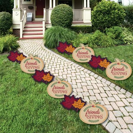 Friends Thanksgiving Feast - Pumpkin and Leaf Lawn Decorations - Outdoor Friendsgiving Yard Decorations - 10 Piece (Outdoor Pumpkin Decorations)