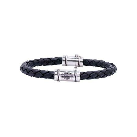 Men's Leather Silver Bar & Shield Rope Bracelet, Blk HDB0376 (8), Harley (Harley Bracelets)