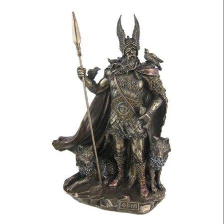 Norse God Odin Bronze Finish Statue Viking Pagan