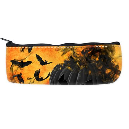 POPCreation Halloween Pumpkin Orange Luminos Bat School Pencil Case Pencil Bag Zipper Organizer Bag](Halloween Penis)
