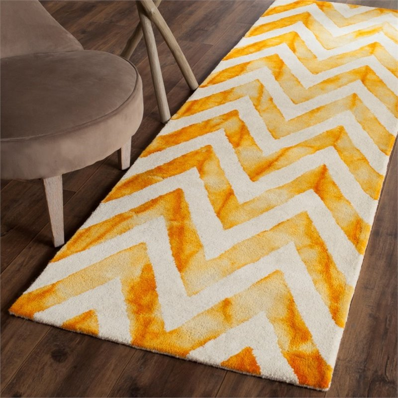 "Safavieh Dip Dye 2'3"" X 6' Hand Tufted Wool Pile Rug in Ivory and Gold - image 3 of 10"