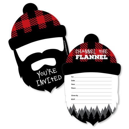 Lumberjack Party (Lumberjack - Channel The Flannel - Shaped Fill-In Invite-Buffalo Plaid Party Invitation Cards with Envelopes - Set of)