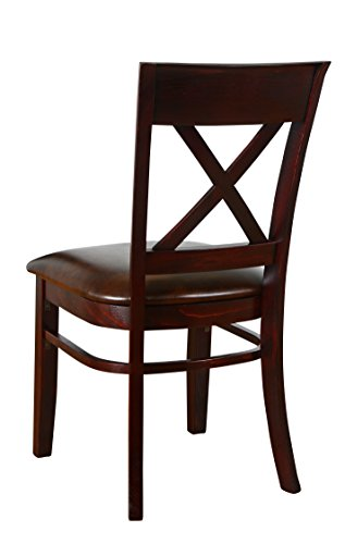 Beechwood Mountain BSD-245S-GM Solid Beech Wood Side Chairs in Gunstock Mahogany for Kitchen and dining, set of 2 by Overstock