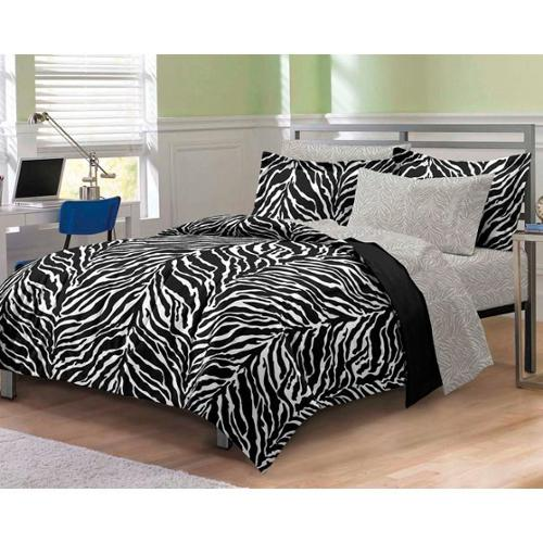 Zebra Black/White 7-piece Bed-in-a-Bag with Sheet Set Twin/TwinXL