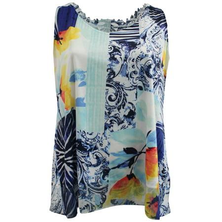 4b00d76daf73c BNY Corner - Women s Plus-Size Sleeveless Floral Print Design Lace Back  Summer Tank Top Blue 1X G17.006L - Walmart.com