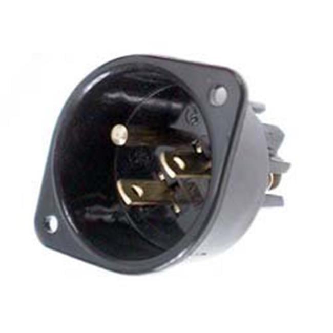 Black Leviton 5239 2 Pack 15Amp 125V Flanged Inlet Receptacle