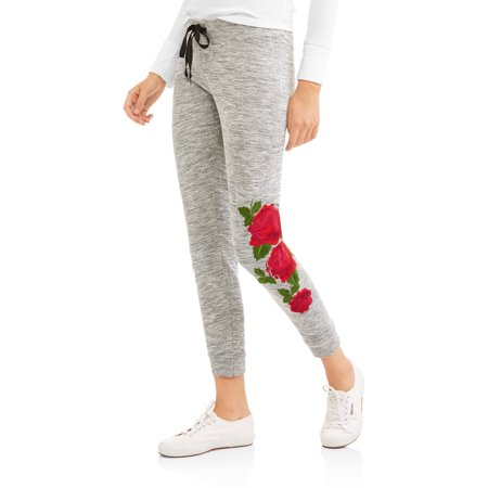 Thrill Women's Cozy Knit Pants with Rose Embroidered Detail