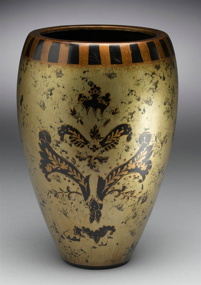 Hand-Painted Asian Inspired Porcelain Vase in Black and Gold - Walmart.com