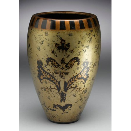 Hand-Painted Asian Inspired Porcelain Vase in Black and Gold