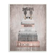 The Stupell Home Decor Collection Book Stack Heels Metallic Pink Wall Plaque Art, 10 x 0.5 x 15
