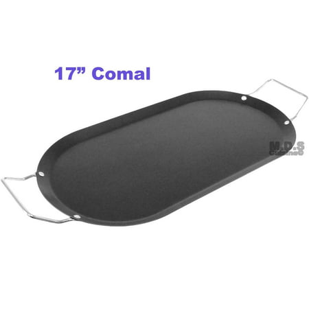 Comal 17 inch Mexican Carbon Steel Black Oval Flat Non-Stick Griddle Tortillas Cooking Appliance
