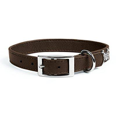 - rockin' doggie plain leather dog collar, 3/4 by 14-inch, brown