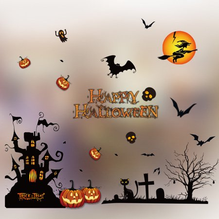 Mosunx Halloween Decorations shopping mall Bar KTV static Window Glass paste - Halloween Westminster Mall