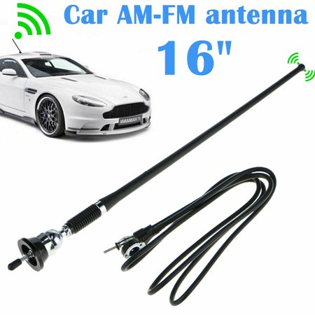 EEEKit Universal 16Inch Car Stereo Auto Roof Fender Radio Signal Antenna Fm Am Wing Mount Aerial, Extendable Replacement Wire, 16