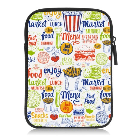 Chicken Fast Food Hamburg Fried White Amazon 6  Kindle Case 6Th 7Th Gen Paperwhite Voyage Oasis Cover Neoprene Rubber Soft Protect Bag
