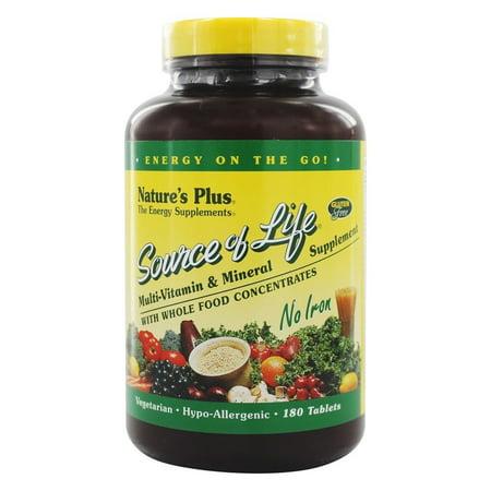 Nature's Plus - source de vie multi-vitamines et minéraux Non Fer - 180 Vegetarian Tablets