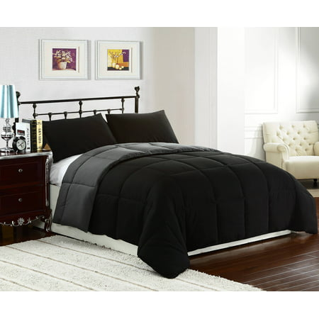 Down Alternative Comforter Sets (Reversible Collection 3pc Down Alternative Comforter set Black/Grey Color )