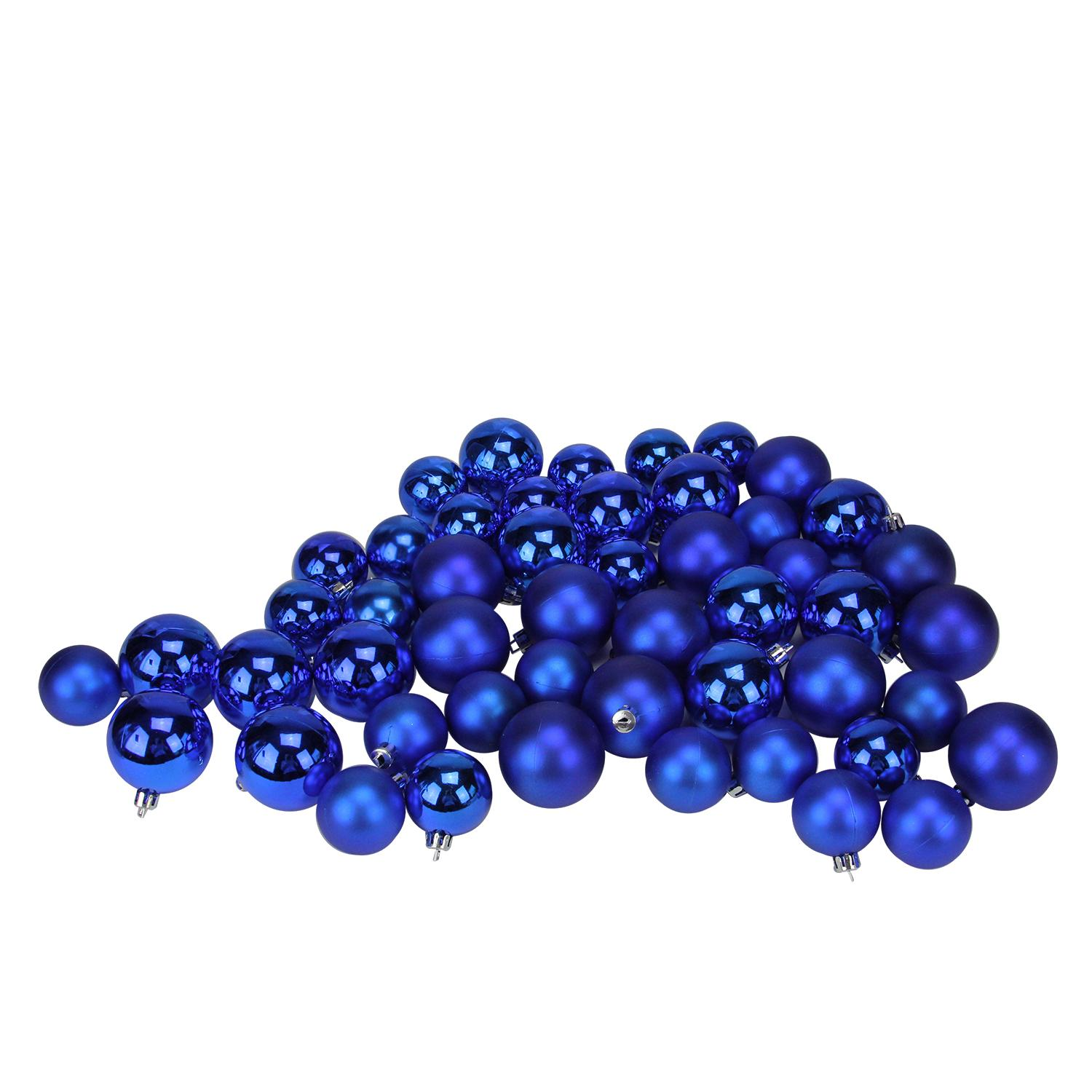 "50ct Shatterproof Lavish Blue Shiny & Matte Christmas Ball Ornaments 1.5""-2"""