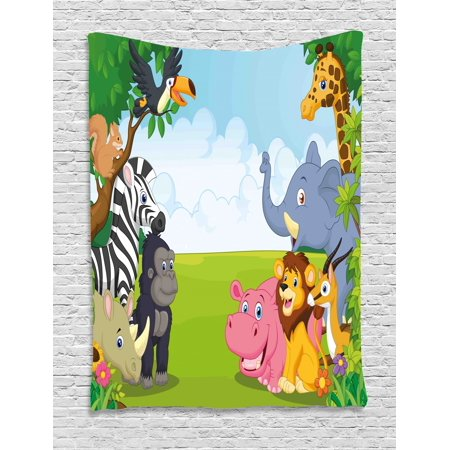 Kids Tapestry, Kids Design Children Nursery Room Safari Themed Cartoon Animals Image Artwork Print, Wall Hanging for Bedroom Living Room Dorm Decor, Multicolor, by Ambesonne