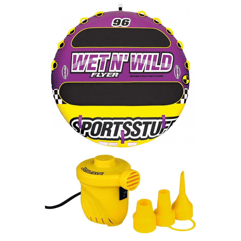 Airhead Sportsstuff Wet N' Wild Flyer 4-Rider Towable + 12V Portable Air Pump by Kwik Tek