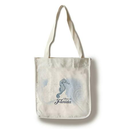 Sarasota, Florida - Seahorse - Blue - Coastal Icon - Lantern Press Artwork (100% Cotton Tote Bag - (Sarasota Women)