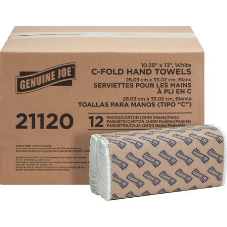 Bleached Single Fold Towels - Genuine Joe, GJO21120, C-Fold Paper Towels, 2400 / Carton, White