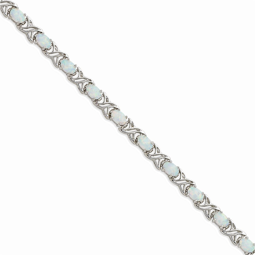 Sterling Silver Rhodium Plated 7.5 inch Created Opal XO Bracelet by