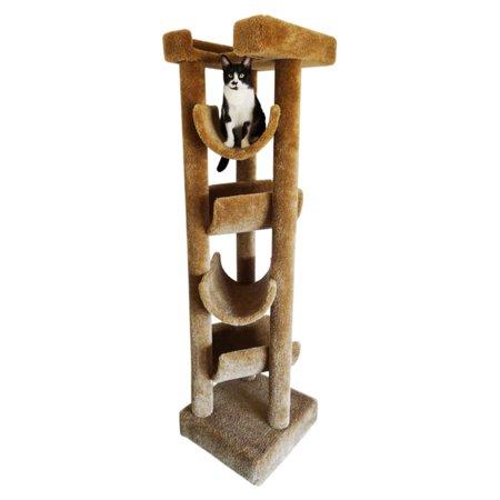 (New Cat Condos 72 in. Premiere Solid Wood Skyscraper Cat Tree)
