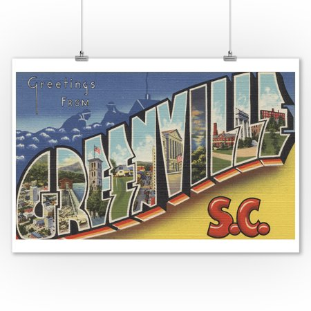 Greenville, South Carolina - Large Letter Scenes (9x12 Art Print, Wall Decor Travel Poster) - Home Decor Greenville Sc