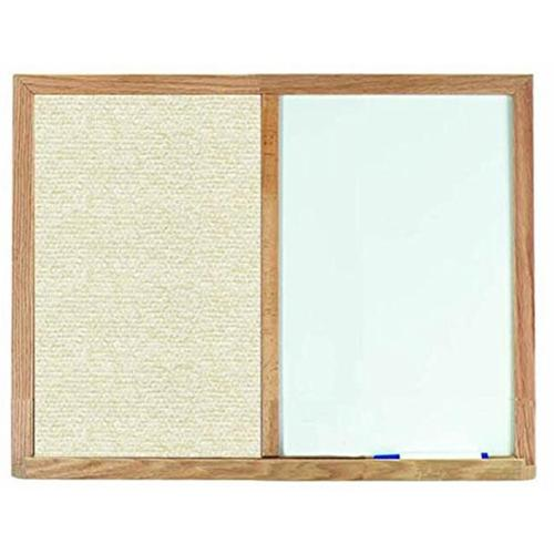 Aarco Products FCO2436H Oak Frame Combination Beige Fabric Tack Board - 24 H x 36 W in.