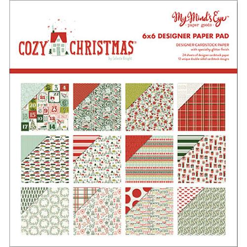 My Minds Eye Paper Pad 6 Inch X 6 Inch 24/Pkg-Cozy Christmas W/Gli