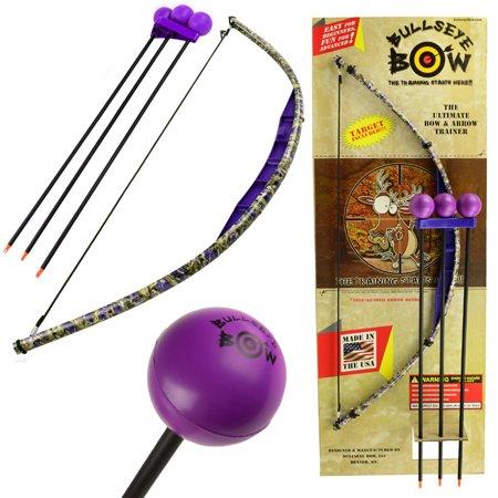 Kids Bow and Arrow Set Beginner Archery Toy Bullseye Purple Camo Training Kit Foam (Best Beginner Hunting Bow)