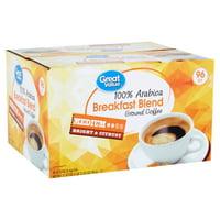 Great Value 100% Arabica Breakfast Blend Coffee Pods, Medium Roast, 96 Count