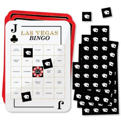 Las Vegas - Bar Bingo Cards and Markers - Casino Party Bingo Game - Set of (Best Bingo In Las Vegas)