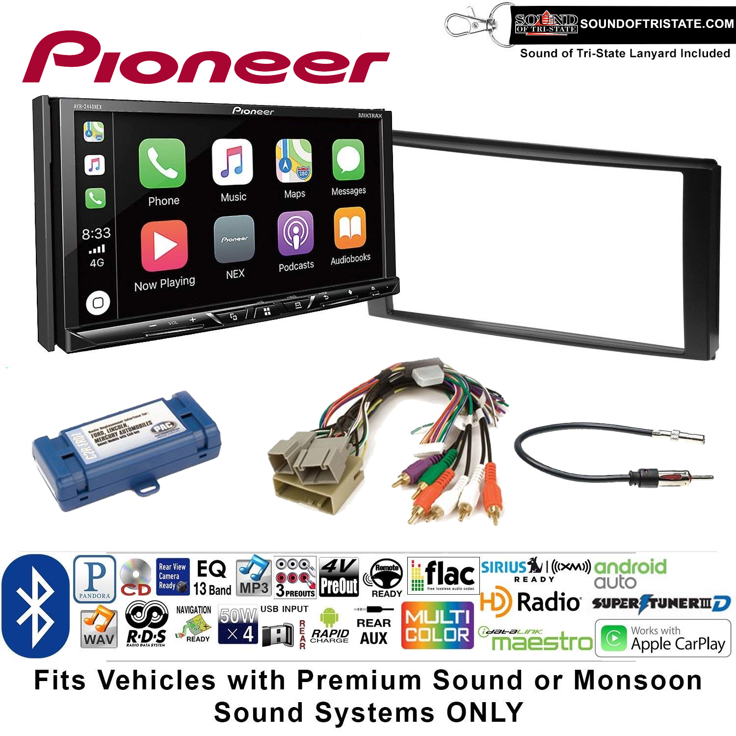 Pioneer AVH-2440NEX Double Din Radio Install Kit with Apple CarPlay, Android Auto and Bluetooth Fits 2007-2010 Edge (With factory amplified sound) + Sound of Tri-State Lanyard