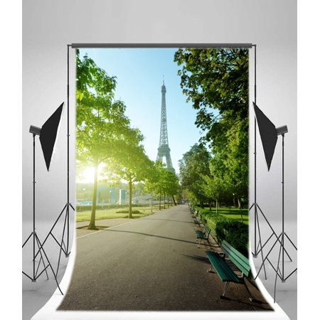 MOHome Polyester Fabric Eiffel Tower Backdrop 5x7ft Bright Sunshine Park Scene Green Trees Bench Grass Land Paris Theme Party Decoration Frence Travel Photos We