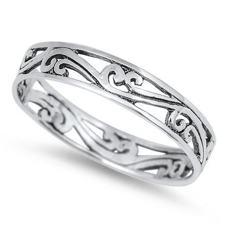 Women's Eternity Style Polished Ring New .925 Sterling Silver Band Size 8 (Eternity Band Sterling Silver)