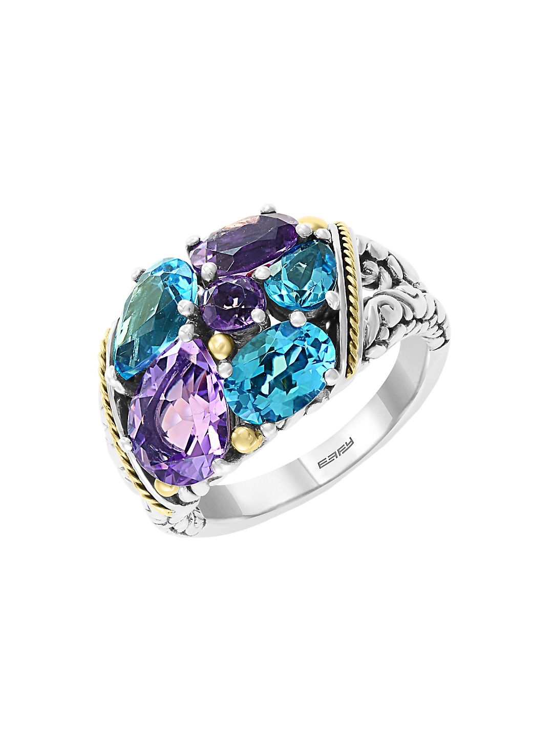 Sterling Silver, 18K Yellow Gold, Amethyst & Blue Topaz Cocktail Ring