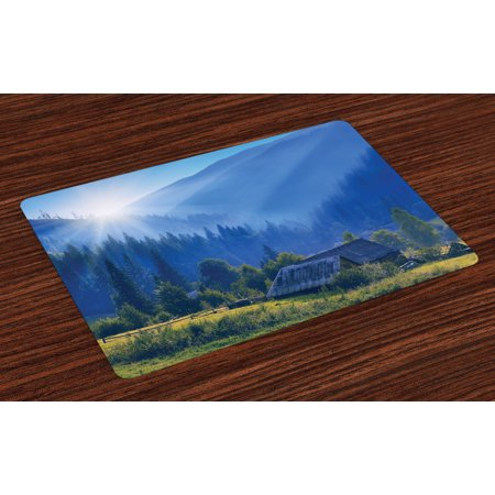 Rustic Placemats Set of 4 Mountain Village Ukraine Rising Sun Pine Trees Forest Wooden House Nostalgic Photo, Washable Fabric Place Mats for Dining Room Kitchen Table Decor,Green Blue, by (House Of The Rising Sun Blues Version)