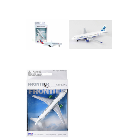 American  Jetblue  Frontier Airlines Diecast Airplane Package   Three 5 5  Diecast Model Planes