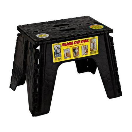 B&R Plastics 103-6BK E-Z Foldz Folding Step Stool - 12u0022, Black