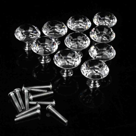 Anauto 10Pcs Crystal Glass Cabinet Knobs Drawer Dresser Knobs Cupboard