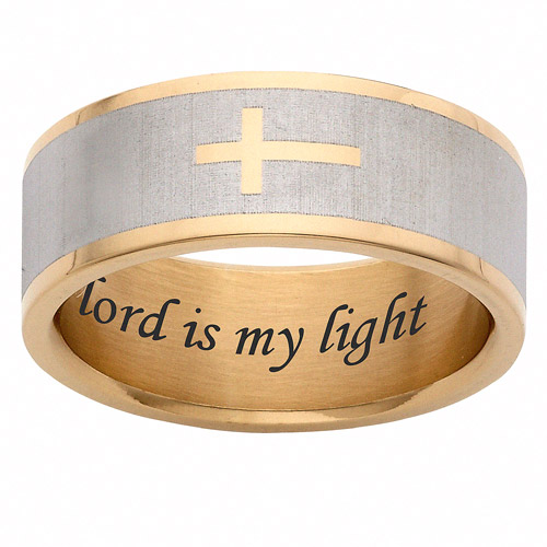 Personalized Gold IP Plate Religious Cross Stainless Steel Ring