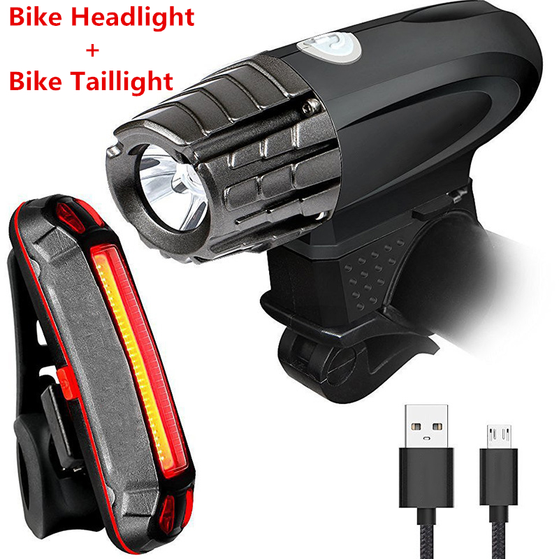 Waterproof Boxed Super Bright USB RECHARGEABLE Bicycle Lights Bike Light Set