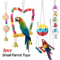 5pcs/set Parrot Toy Bird Cage Bell String Swing Hammock Parrot Chew Toy