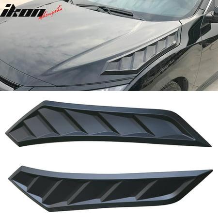 Fits 16-19 Honda Civic 10th Gen Sedan Coupe V2 Style Hood Vents 2 Pcs Black ABS (Gen Hood)