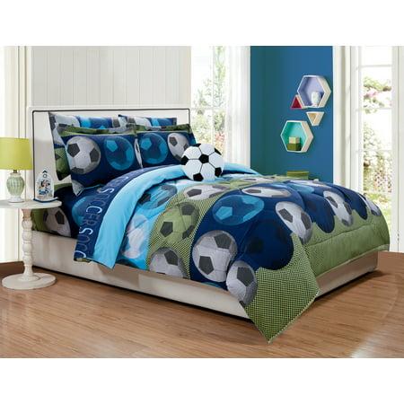 Comfort Linen - Fancy Linen 6pc Boys Twin Comfort Set Soccer Blue Green With Furry Buddy New