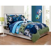 Fancy Linen 6pc Boys Twin Comfort Set Soccer Blue Green With Furry Buddy New